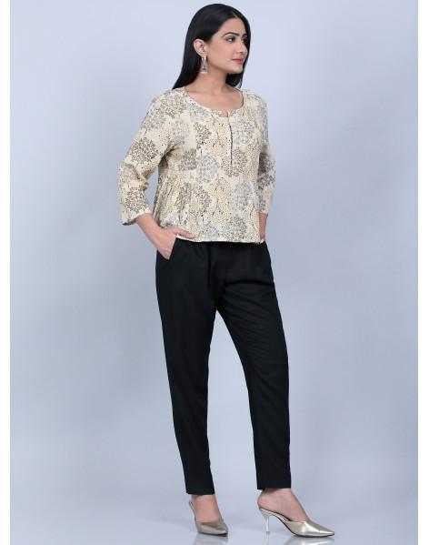 Suti Women's Printed Pannel Top With Slim Pant, BEIGE