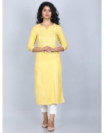 Suti Women's 100% Rayon Straight Embroidered Long kurti, Aspen Gold