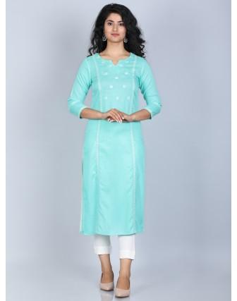 Suti Women's 100% Rayon Straight Embroidered Long kurti, Ice Green