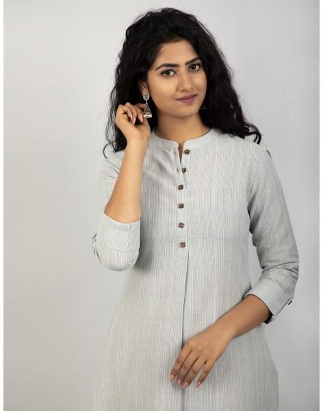 Suti Women's Cotton Stripe Front Buttoned Long Tunic, Grey