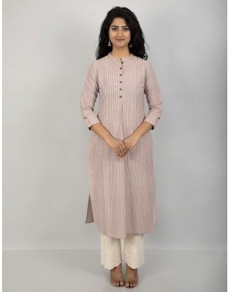 Suti Women's Cotton Stripe Front Buttoned Long Tunic, Peach
