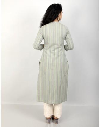 Suti Women's Cotton Stripe Front Buttoned Long Tunic, Vibrant Green