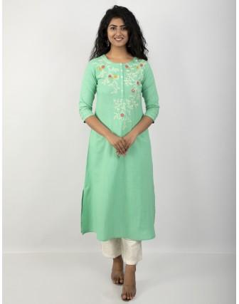 Suti Women's Cotton Slub Embroidered A-Line Kurti, Jade Cream