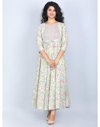 Suti Women's 100% Cotton Flared Dress, Sea Crest