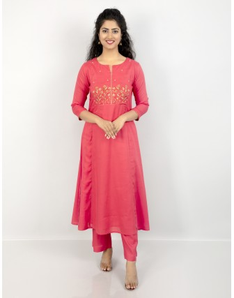 Anagh Women's Rayon Modal Party Wear Beautiful Kurti with Trouser, New Coral