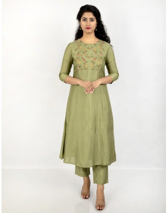Anagh Women's Muslin 2 Pieces Multicolor Embroidered A-Line Kurta Set, Green