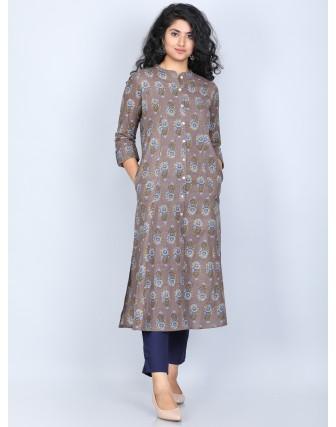 Suti Women's Cotton Flex Rich Cotton Printed Front Buttoned Kurti, Kashish