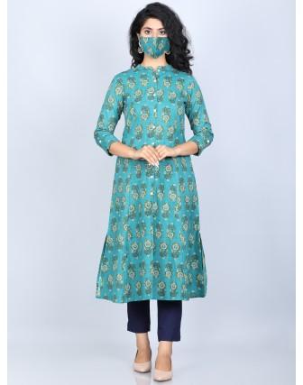 Suti Women's Cotton Flex Rich Cotton Printed Front Buttoned Kurti, Teal