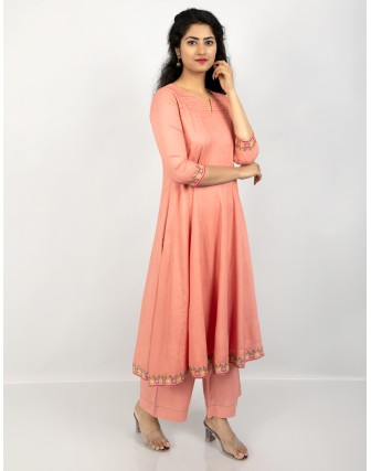 Suti Women's Rayon Slub Party Wear Kalidar Kurta with Trouser, Brunt Coral