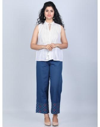 Suti Women's 100% Cotton Sleeveless Dobby Fashion A-Line Top with Fancy Tassel Detail, Off White