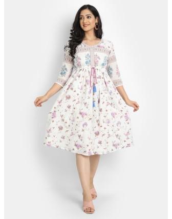 Suti Women's Cotton Voile Printed Gathered Dress, White