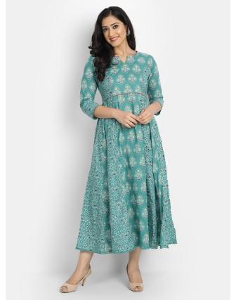 Suti Women's Cotton Floral Kalidar Printed Long Kurti, Porcelain Green