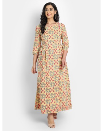 SUTI WOMEN'S COTTON FLORAL PRINTED LONG DRESS WITH SEQUENCE AND BUTTON WORK, CORN YELLOW