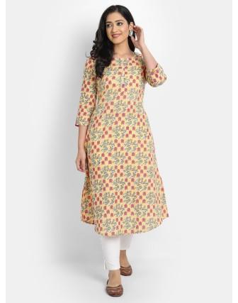 Suti Women's Cotton Floral Printed A-Line Long Kurti, Corn Yellow