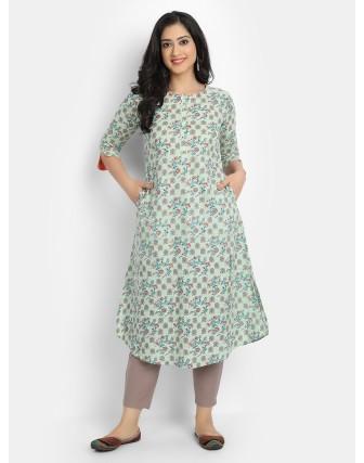 Suti Women's Cotton FLORAL PRINTED A-LINE LONG KURTI, Fog Green