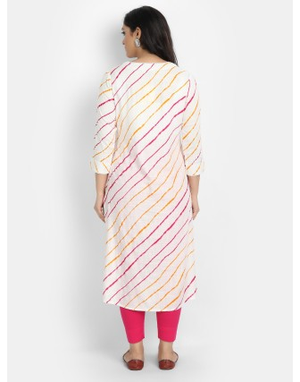 Suti Women's Rayon Slub Lehariya Printed Long Kurti with White Lace, White