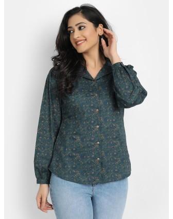 Suti Women's Cotton Printed Lapel Collar Top, Bottle Green