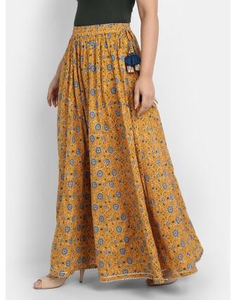 Suti Women's Cotton Printed Kalidar Skirt, Mustard