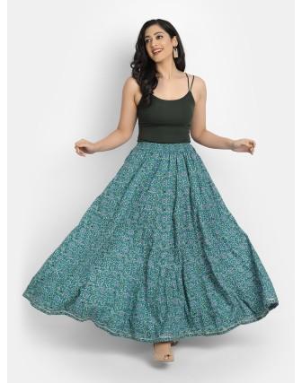 Suti Women's Cotton Printed Kalidar Skirt, Teal