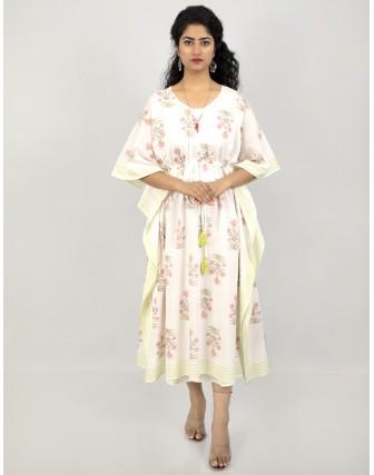 Suti Women's Cotton Beautiful Printed Kaftan with Drawstring at Waist, Lime Green
