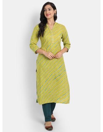 Suti Women's Beautiful Lehariya Printed Long Kurti is Detailed With Zari & Bijiya Lace on Neck