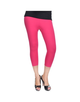 Suti Womens Plain 3/4 Length Leggings, Fuscia