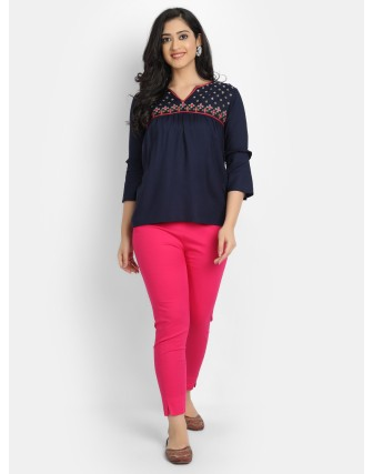Suti Women's Rayon Staple Embroidered Top with Bell Sleeves, Navy Blue