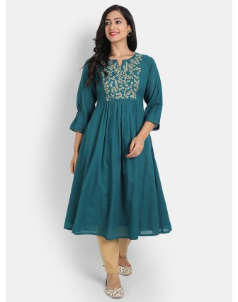 SUTI WOMEN'S EMBROIDERED A LINE LONG DRESS