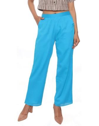 Suti Women`s Cotton Voile Double Layered Trousers, Aqua