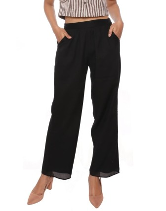 Suti Women`s Cotton Voile Double Layered Trousers, Black