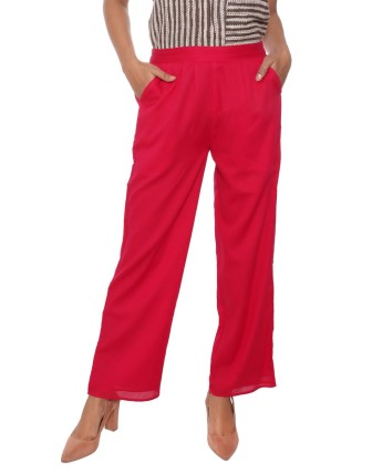 Suti Women`s Cotton Voile Double Layered Trousers, French Rose