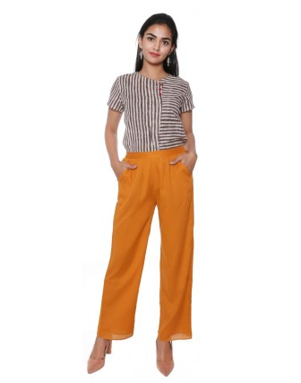 Suti Women`s Cotton Voile Double Layered Trousers, Mustard