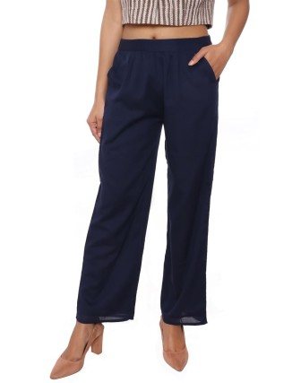 Suti Women`s Cotton Voile Double Layered Trousers, Navy Blue