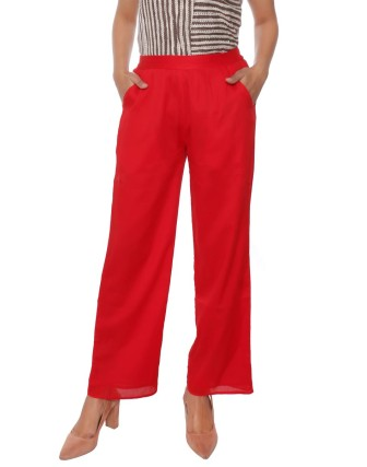 Suti Women`s Cotton Voil Double Layered Trousers, Poppy Red