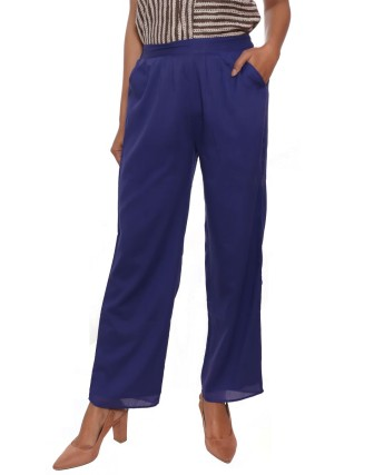 Suti Women`s Cotton Voile Double Layered Trousers, Royal Blue