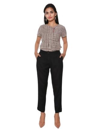 Suti Women`s Rayon Flex Solid Slim Pants, Black