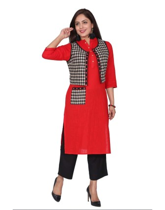 Suti Women's Printed Jacket Long Kurti, Poppy Red