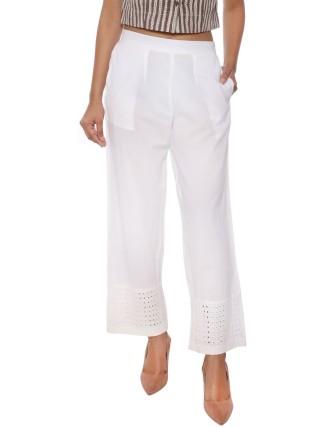 Suti Women`s Cotton Schiffli Solid Trousers, Off White