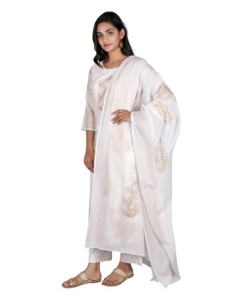 SUTI WOMENS CHANDERI CHANDERI GOLD PRINTED KURTA SET, WHITE