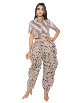 Suti Women`s Cotton Printed Dhoti Patiala, Black