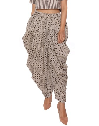 Suti Women`s Cotton Printed Dhoti Patiala, Black
