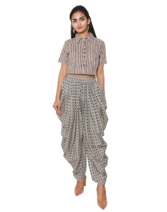 Suti Women`s Cotton Printed Dhoti Patiala, Navy Blue