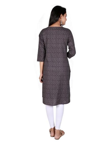 Suti Women`s Cotton Printed Straight Kurti, Black