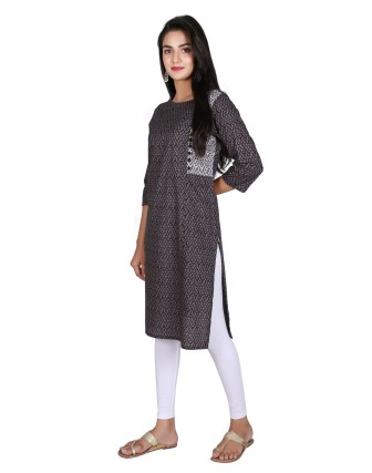 Suti Women`s Cotton Printed Straight Kurti, Black