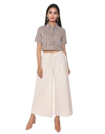 Suti Women`s Cotton Flex Solid Culottes, Natural