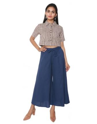 Suti Women`s Cotton Flex Solid Culottes, Navy Blue