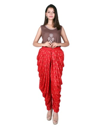Suti Women`s Rayon Printed Dhoti Patiala, Poppy Red
