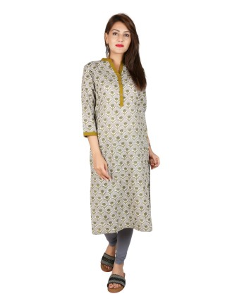 Suti Women`s Cotton Floral Printed Straight Kurti, Grey Olive