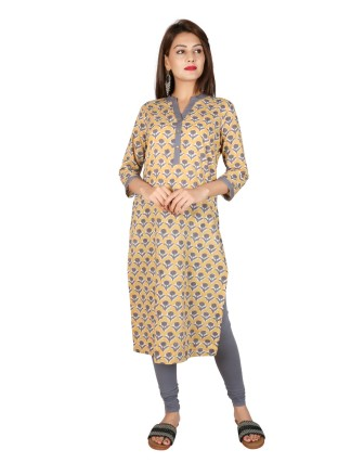 Suti Women`s Cotton Floral Printed Straight Kurti, Mustered Gold