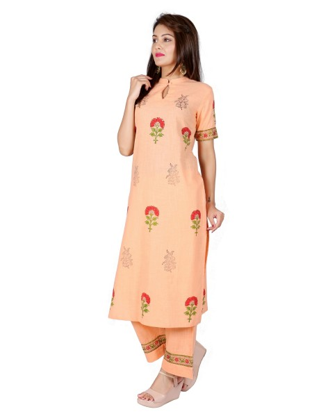Suti Women`s Cotton Slub Block Printed Straight Kurta with Palazzo Set, Peach Nectar